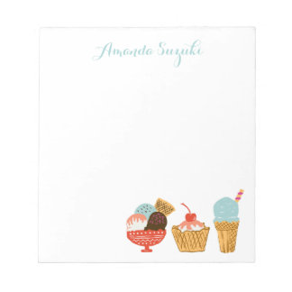 Ice Cream Illustration with Name Notepad