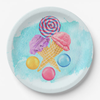 Ice Cream Lollipop and Candy 9 Inch Paper Plate