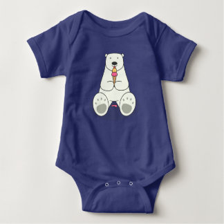 Ice Cream Lover Polar Bear Baby Bodysuit