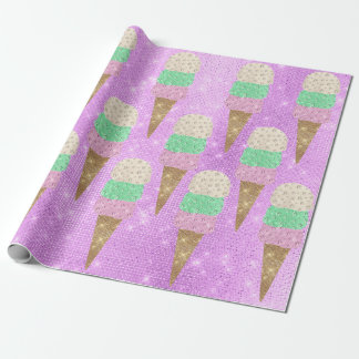 Ice Cream Mint Amethyst Pastel Ivory Sparkly Sweet Wrapping Paper