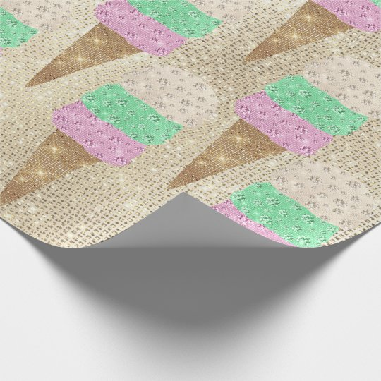 Ice Cream Mint Green Pink Ivory Metallic Sparkly Wrapping Paper