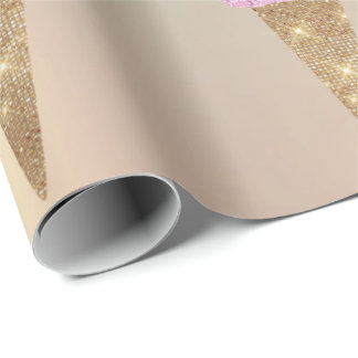 Ice Cream Mint Green Pink Pastel Metallic Rose Wrapping Paper