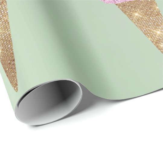Ice Cream Mint Green Pink Pastel Metallic Summer Wrapping Paper