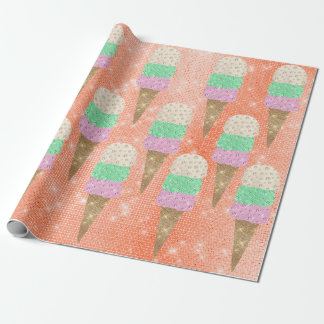 Ice Cream Mint Pink Pastel Coral Spark summer Wrapping Paper