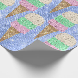 Ice Cream Mint Pink Pastel Ivory Spark Blue Wrapping Paper