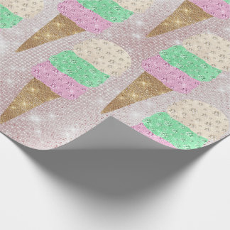 Ice Cream Mint Pink Pastel Ivory Sparkly Sweet Wrapping Paper