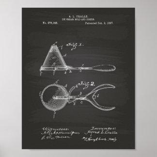 Ice Cream Mold 1897 Patent Art  Chalkboard Poster