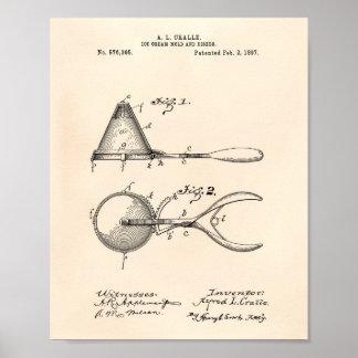 Ice Cream Mold 1897 Patent Art  Old Peper Poster