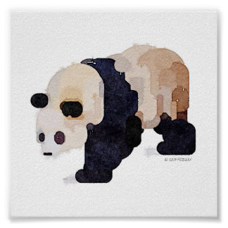 Ice Cream Panda Watercolor Painting (Small) Poster