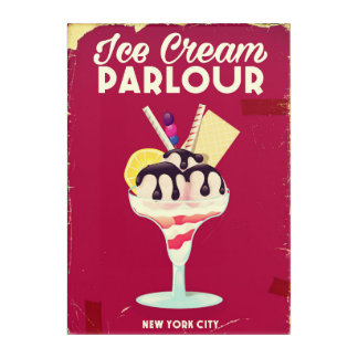 Ice Cream Parlour Vintage old Sign Acrylic Wall Art
