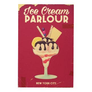Ice Cream Parlour Vintage old Sign Wood Prints