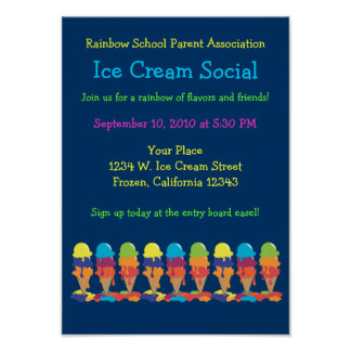 Ice Cream Party Annoucement Poster