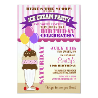 Ice Cream Party Birthday Invitation