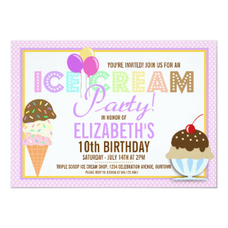 Ice Cream Party Card