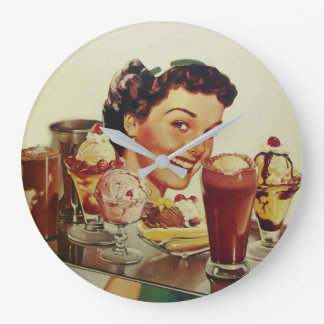 ICE CREAM PARTY Girl with Tray of Ice Creams Large Clock