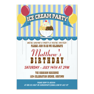 Ice Cream Party Invitations