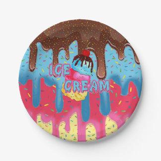 Ice Cream Party Plates with Ice Cream Logo