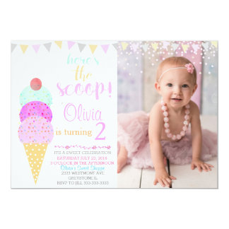 Ice cream party Water color ice cream cone Card