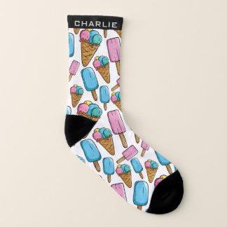 Ice Cream Pattern custom name socks