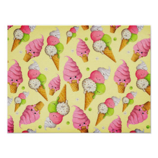 Ice Cream Pattern Posters