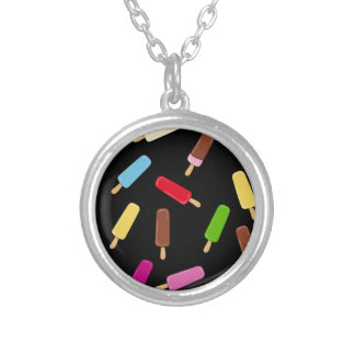 Ice cream pattern silver plated necklace