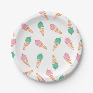 Ice cream pink and mint watercolour party plates