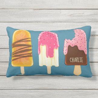 Ice Cream Popsicles custom name throw pillows