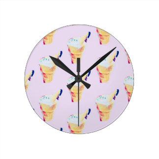 Ice Cream Queen Round Clock
