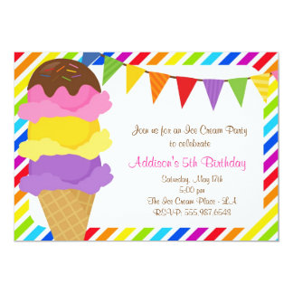 Ice Cream Rainbow Birthday Party Invitation