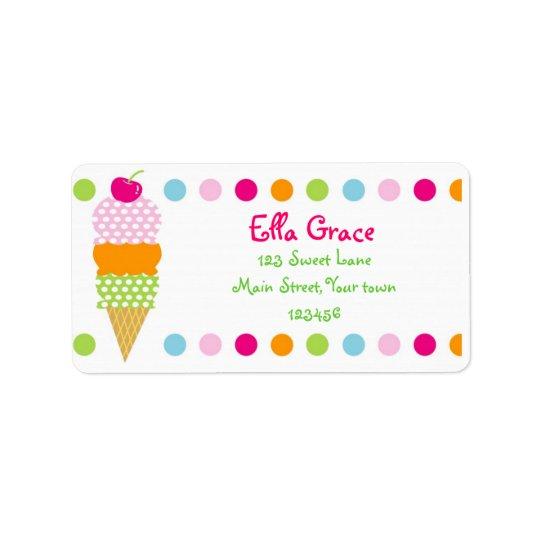 Ice cream Return Address Labels Envelope Seals