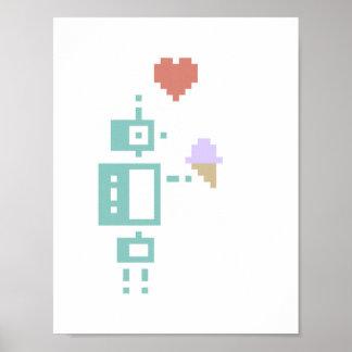 Ice Cream Robot Pixel Art Poster