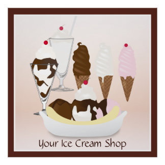 Ice Cream Shop Large Sign Poster