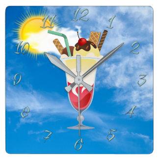 Ice-cream shop square wall clock