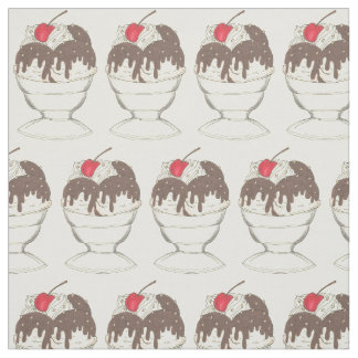 Ice Cream Shoppe Hot Fudge Cherry Sundae Fabric