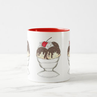 Ice Cream Shoppe Hot Fudge Cherry Sundae Food Mug