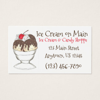 Ice Cream Shoppe Hot Fudge Sundae Dessert Cherry Business Card