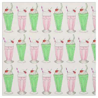 Ice Cream Shoppe Pink Green Shake Milkshake Print Fabric