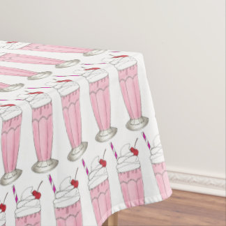Ice Cream Shoppe Pink Milkshake Soda Fountain Food Tablecloth