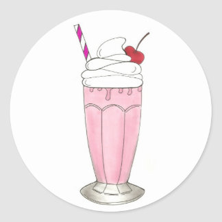Ice Cream Shoppe Strawberry Pink Milkshake Foodie Classic Round Sticker