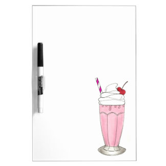 Ice Cream Shoppe Strawberry Pink Milkshake Foodie Dry Erase Board
