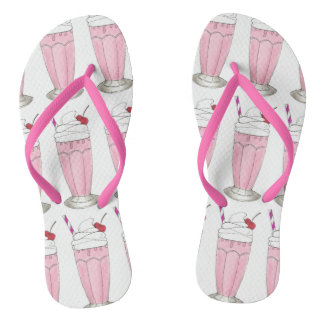 Ice Cream Shoppe Strawberry Pink Milkshake Foodie Flip Flops