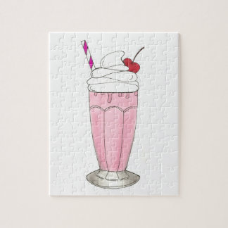 Ice Cream Shoppe Strawberry Pink Milkshake Foodie Jigsaw Puzzle