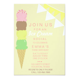Ice Cream Social Party Invitation