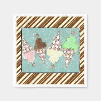 Ice Cream Stripes Paper Napkins