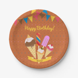 Ice cream summer Birthday Party Paper Plate