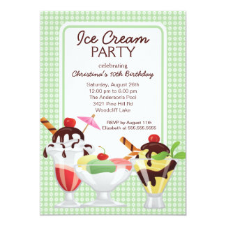 Ice Cream Sundae Birthday Party Card