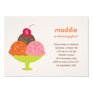 Ice Cream Sundae Birthday Party Invitation (Pink)