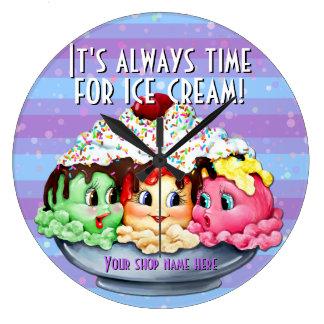Ice cream sundae hand painted clock shop decor