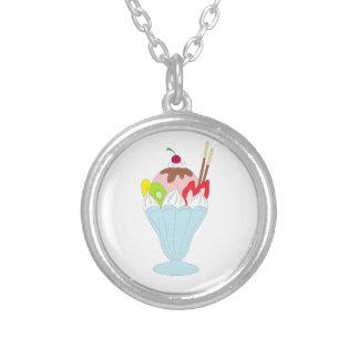 Ice Cream Sundae Round Pendant Necklace