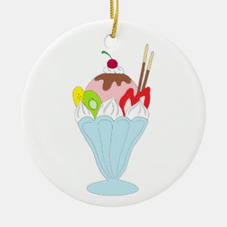 Ice Cream Sundae Round Ceramic Ornament